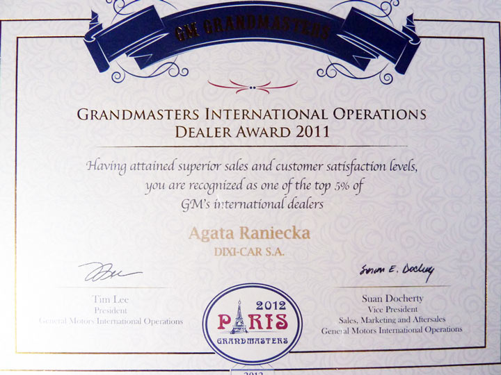 Grandmasters International Operations Dealer Award 2011 - dyplom dla Dixi-Car