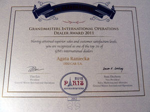 Grandmasters Internetional Operations Dealer Award 2012 - dyplom dla Dixi-Car
