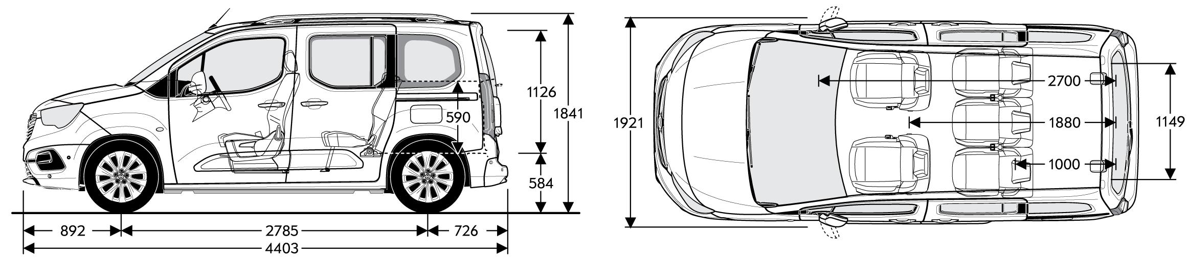 Modish Opel Combo Life - BAGAŻNIK, Wymiary - OPEL Dixi-Car NI89